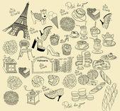 Vector Collection symbols of Paris — Stock Vector