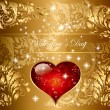 Beautiful holiday gold card  with heart — Vektorgrafik