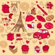 Stock Vector: Collection symbols of Paris