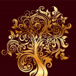 Beautiful gold tree with flowers and curls — Stock Vector #5269875