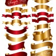 Collection of red and gold ribbons — Imagen vectorial