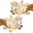 Beautiful gold ornament with flowers and curls - Stock Vector