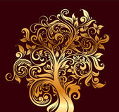 Beautiful gold tree with flowers and curls — Stock Vector