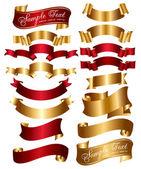 Zbiór wstążki czerwone i złote — Wektor stockowy