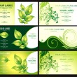 Business card with green foliage — Stok Vektör