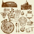 thumbnail of Vector set of Italian symbols