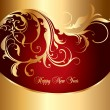 Holiday gold card with curly ornament — Image vectorielle