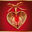 Holiday card with gold heart - Stock Vector