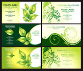 Business card with green foliage — Stock Vector