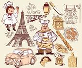 Collection symbols of Paris — Stock Vector