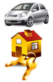 Vector Icons: car and home — Stock Vector