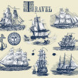 Set of old ships - Stock Photo