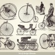 Vector set of old bicycles - Imagens vectoriais em stock
