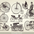 Vector set of old bicycles - Stockvektor