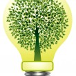 Vector lightbulb with green tree - Stock Vector