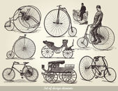 Vector set of old bicycles — Wektor stockowy