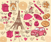 Collection of symbols of Paris. Hand drawing. — Stock Vector
