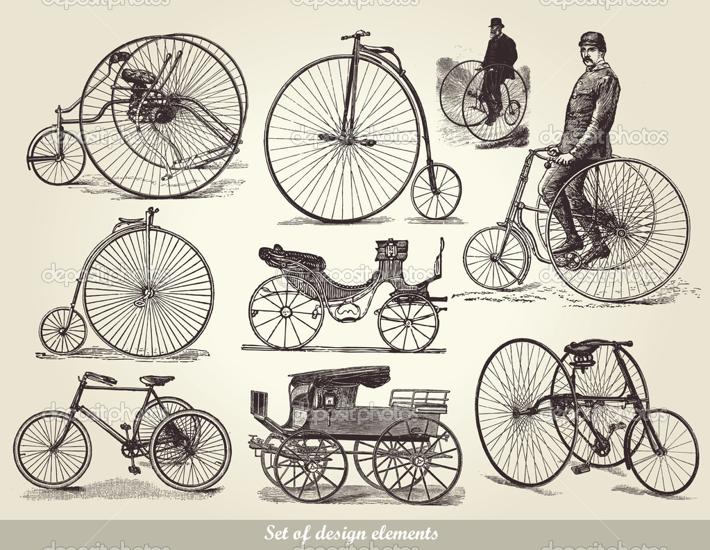 Vector set of old bicycles — Stock Vector #5281397