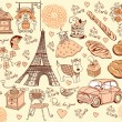 Collection symbols of Paris. Hand drawing. - Stock Vector