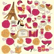 Collection symbols of Paris. Hand drawing. — Stock Vector #5314028