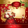 Christmas banner with Santa Claus - Stock Vector