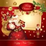 bannière de Noël avec le père Noël — Vecteur