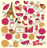 Collection symbols of Paris. Hand drawing. — Stock Vector