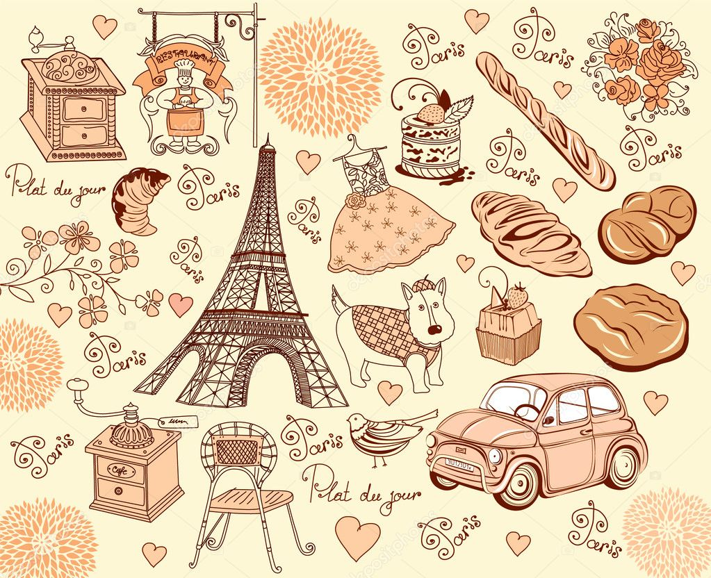 Collection symbols of Paris. Hand drawing.  Stock Vector #5313996