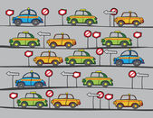 Taxi cars and traffic signs — Vettoriale Stock