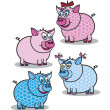 Pink and blue piggy — Vector de stock #4565976