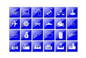 Web icons for business and office blue aqua, vector — Stock Vector