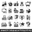 Stock Vector: Grayscale school icons