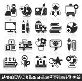 Grayscale school icons — Stock Vector