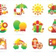 Beautiful holiday icons — Stock Vector