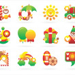 Beautiful holiday icons - Stock Vector