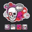 Beautiful icons and composition with a skull — Stock Vector