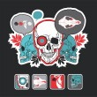 Interesting icons and composition with a skull — Stock Vector