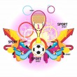 Royalty-Free Stock Vector Image: Fine sports symmetric composition with a cup
