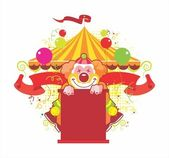 Circus composition with the kind clown — Stock Vector