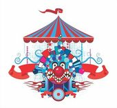 Circus composition with the malicious clown — Stock Vector