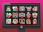 Monitor s nákupy ikony — Stockvektor