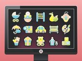 Screen with a beautiful baby icons — Stock Vector