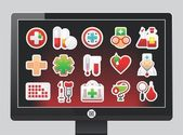 Screen with medical icons — Stock Vector