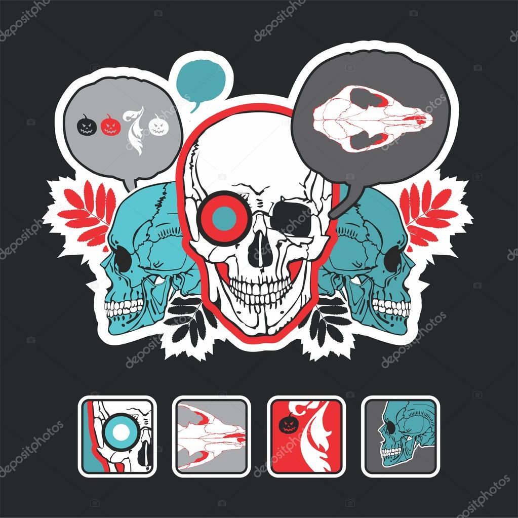 Interesting icons and composition with a skull on a black background — Stock Vector #4351186