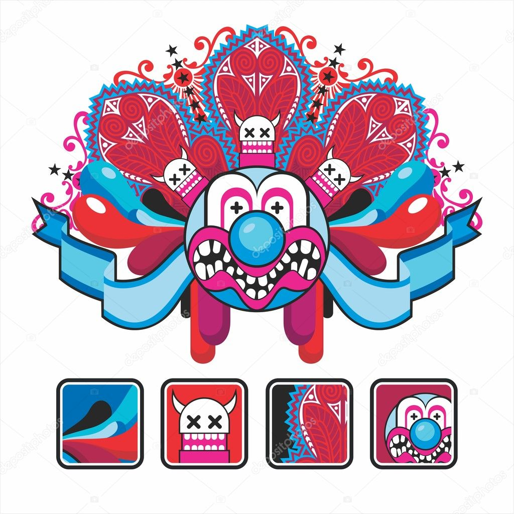 Interesting icons and composition with the head clown — Stock Vector #4352089