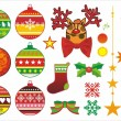 Stock Vector: Christmas ornaments and fur-tree toys