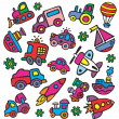 Stock Vector: Drawings in children's style of transport
