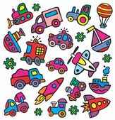 Drawings in a children's style of transport — Stock Vector