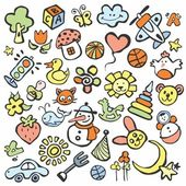 Drawings in the children's style — Stock Vector