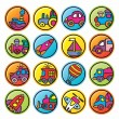 Round buttons with pictures of transport — Stock Vector
